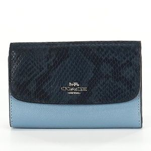 Coach Blue Exotic Skin Leather Wallet